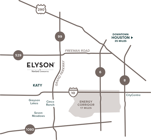 Elyson proximity map to Houston, Texas