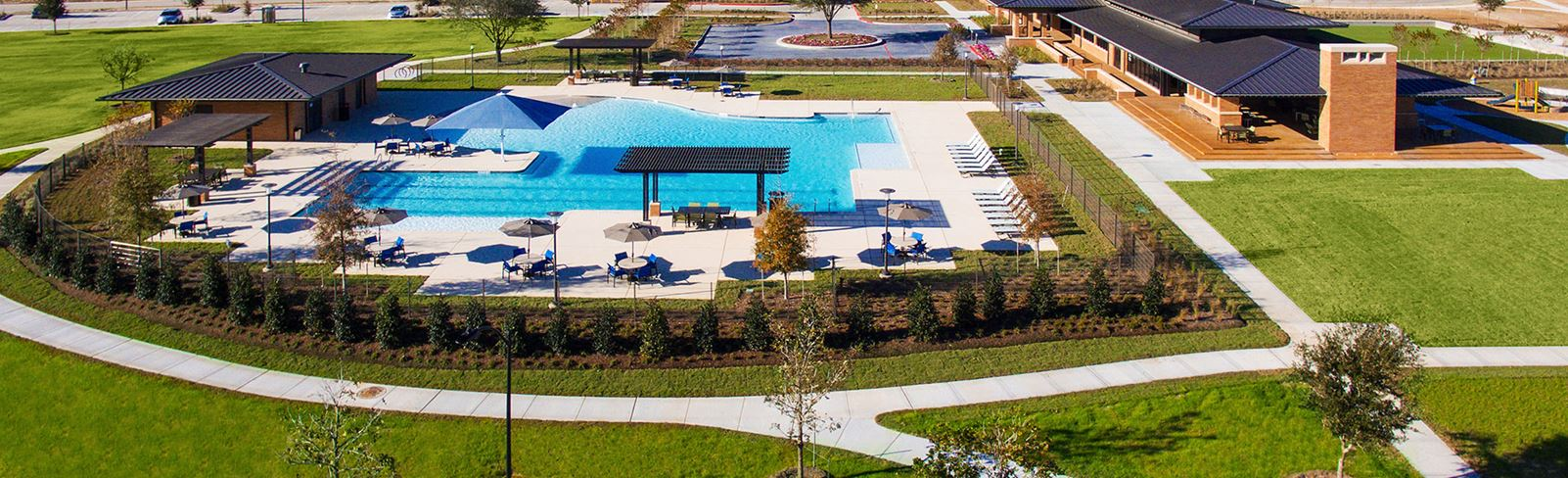 Birdseye view of Elyson pool in Elyson Katy, TX