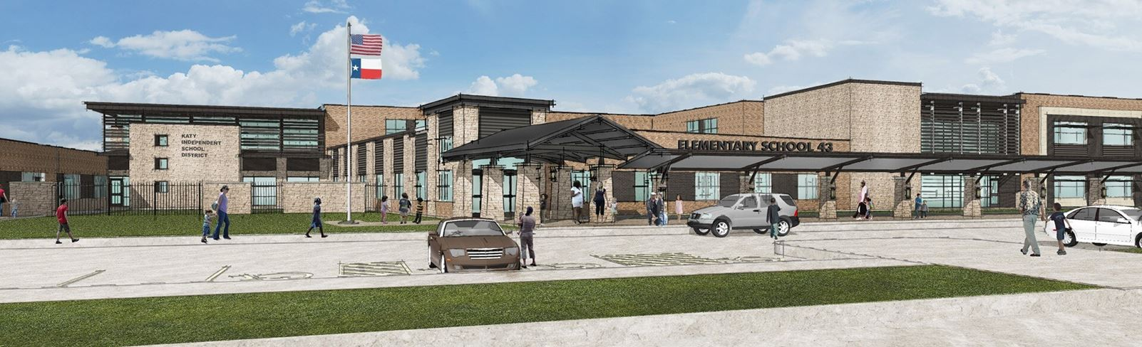 Rendering of future Katy ISD Elementary School in Elyson Community