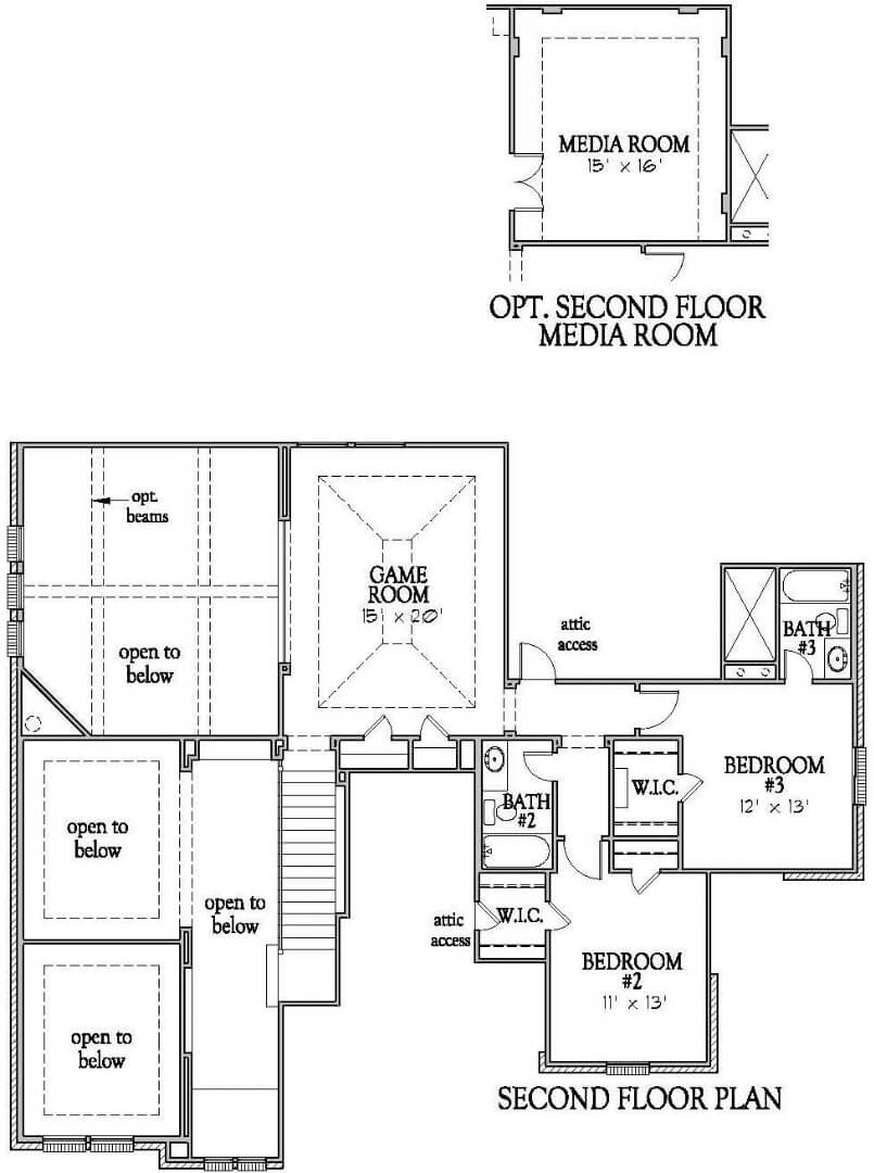 Darling Homes New Home Floor Plan 7490 Second Floor in Elyson Katy, TX
