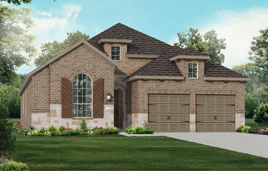 New Home Plan 550 by Highland Homes - Elevation B - Elyson Community, Katy Texas.
