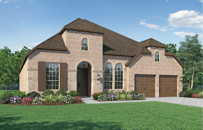 New Home Plan 216 by Highland Homes - Elevation B - Elyson Community, Katy Texas.