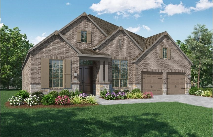 New Home Plan 216 by Highland Homes - Elevation C - Elyson Community, Katy Texas.