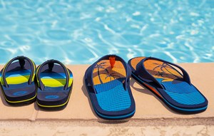 Flip flops at Elyson House swimming pool in Katy, TX