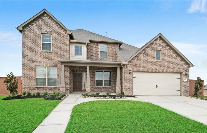 New Home Lawson Plan exterior by Pulte Homes - Elyson Community, Katy Texas.